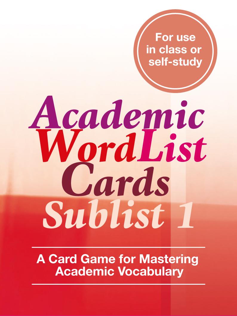 Academic Word List Cards: Sublist 1